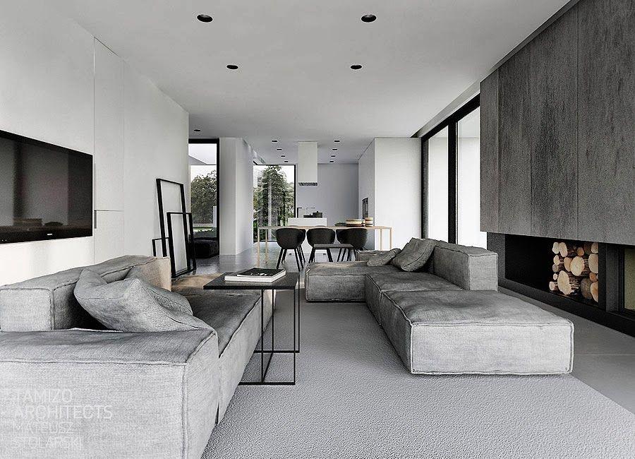 Wohnen - ein puristischer Traum   Wohnen schwarz weiß grau