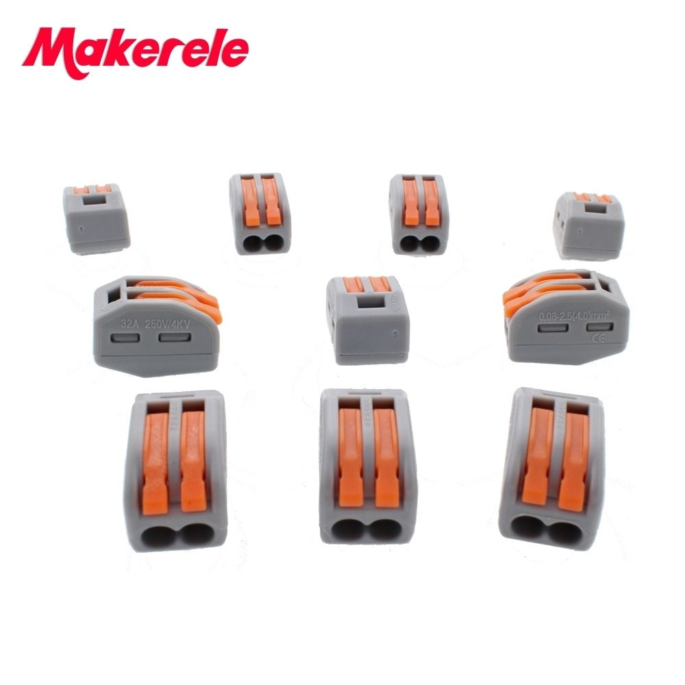Makerele Wire Connector 222 Series 10pcs Cage Spring Universal Fast Wiring Lighting In Conductors Terminal Block China Free