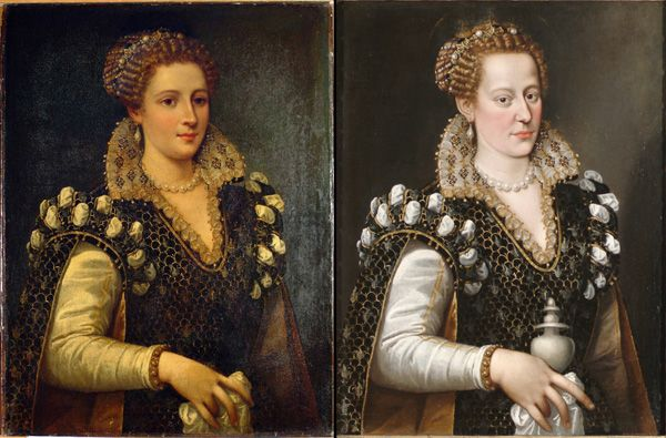 Pre- and post-restoration views of Isabella de' Cosimo I de Medici (circa 1570–74), attributed to Allesandro Allori. Courtesy of Carnegie Museum of Art. Pittsburgh's Carnegie Museum of Art was convinced that a supposed 16th century Bronzino painting was a modern fake. Conservators discovered that the work was authentic, but had received a dramatic makeover during the 19th century. Image on right is the original.