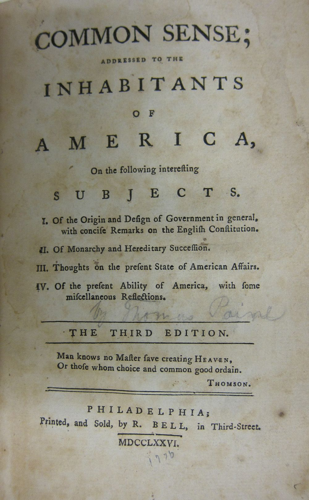 An analysis of the influences of american independence in common sense by thomas paine