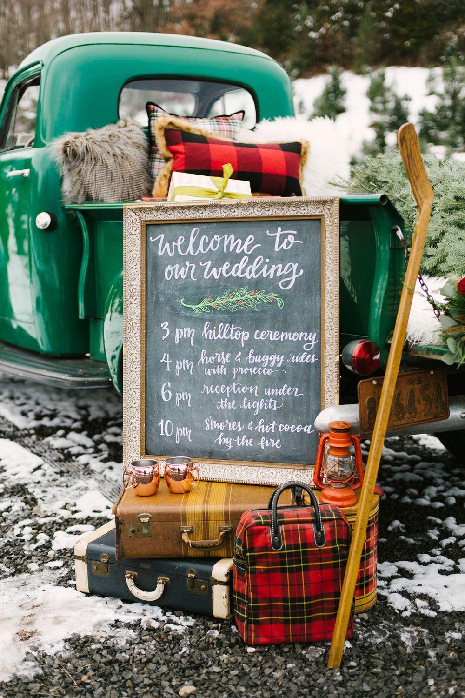 wedding signs - photo by Alicia King Photography http://ruffledblog.com/christmas-tree-farm-wedding-inspiration-with-tradition
