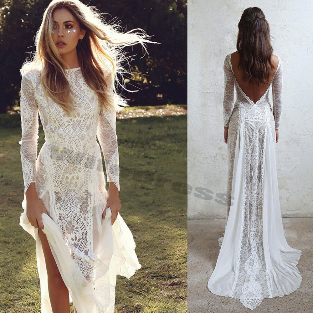 Bra for wedding dress shopping  VBackless Beach Wedding Dresses Long Sleeves Sheath Lace Chiffon