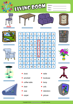 Living Room Word Search Puzzle ESL Vocabulary Worksheet Part 35