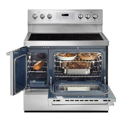 double oven electric range with convection oven in stainless steel