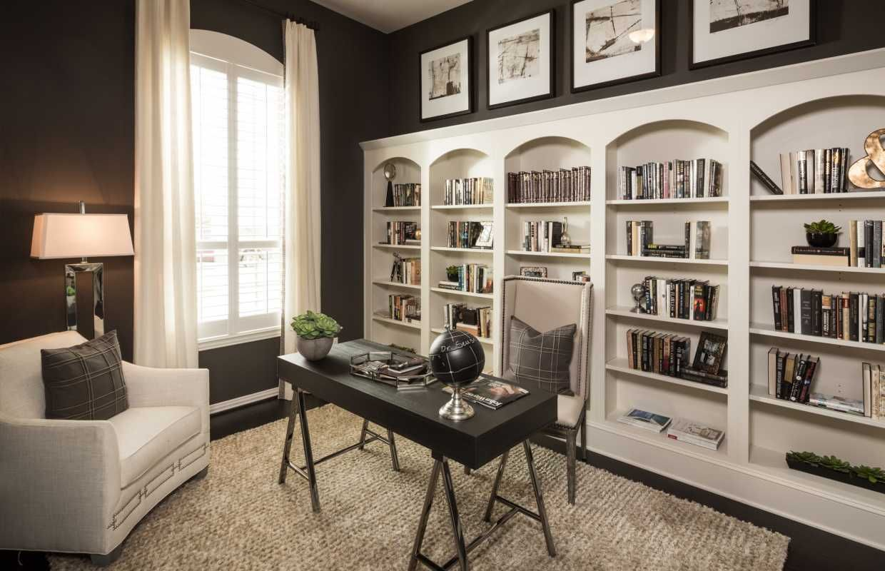 This Chic Office Features Grey And Black Hues, With A Wall Of Stunning  Built Ins To Maximize Storage Space. Oaks At San Gabriel // Georgetown, ...