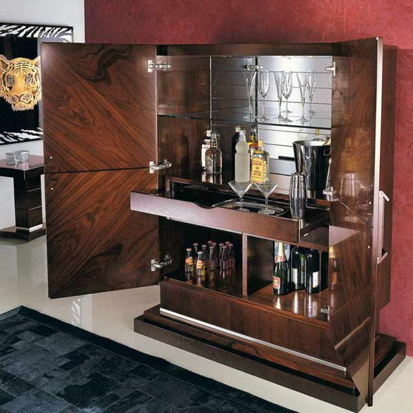 Modern Liquor Cabinet With Red Walls