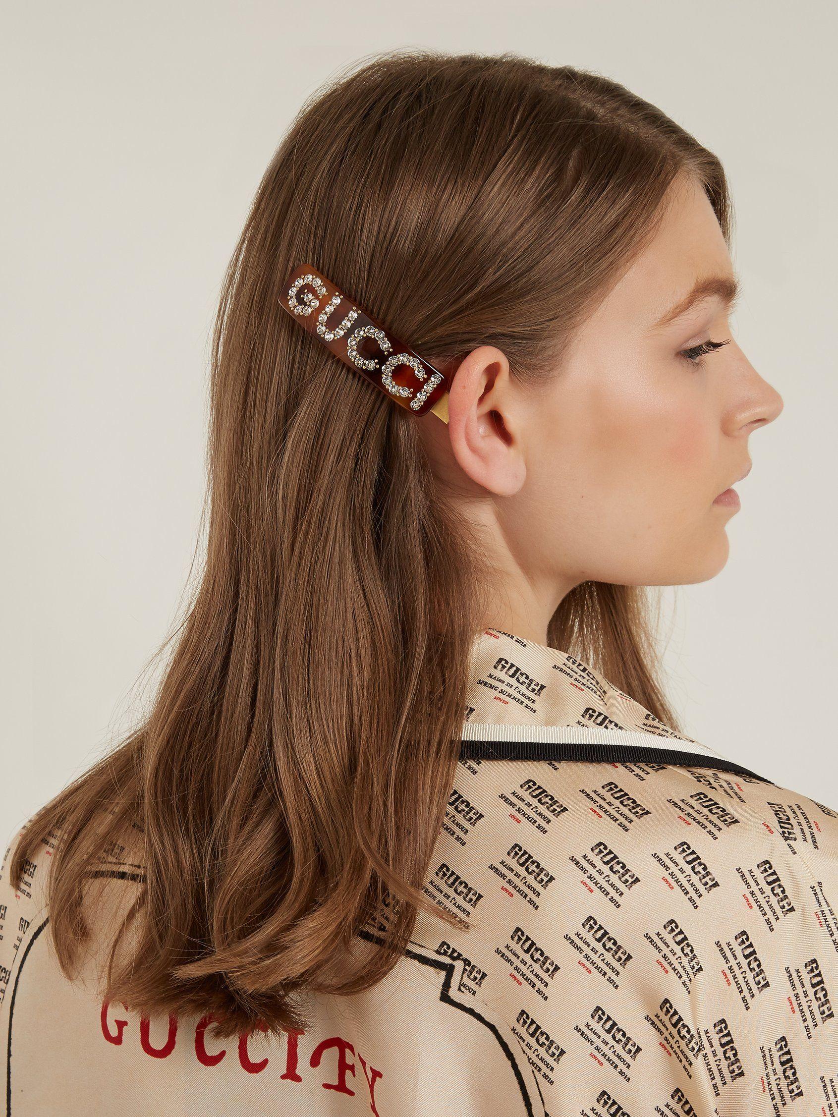 75387ed9b Crystal-embellished logo hair clip