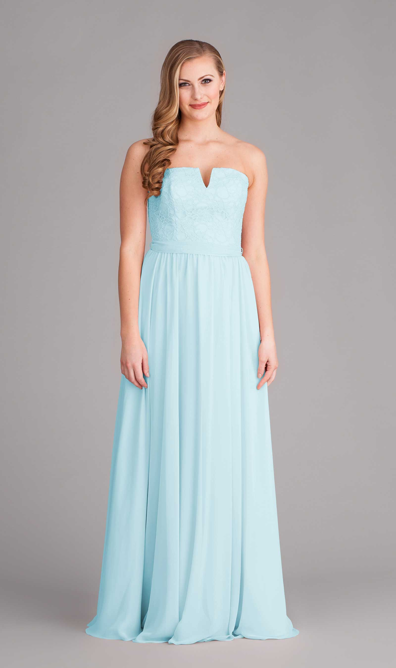 This strapless mint blue bridesmaid dress is a serious headturner