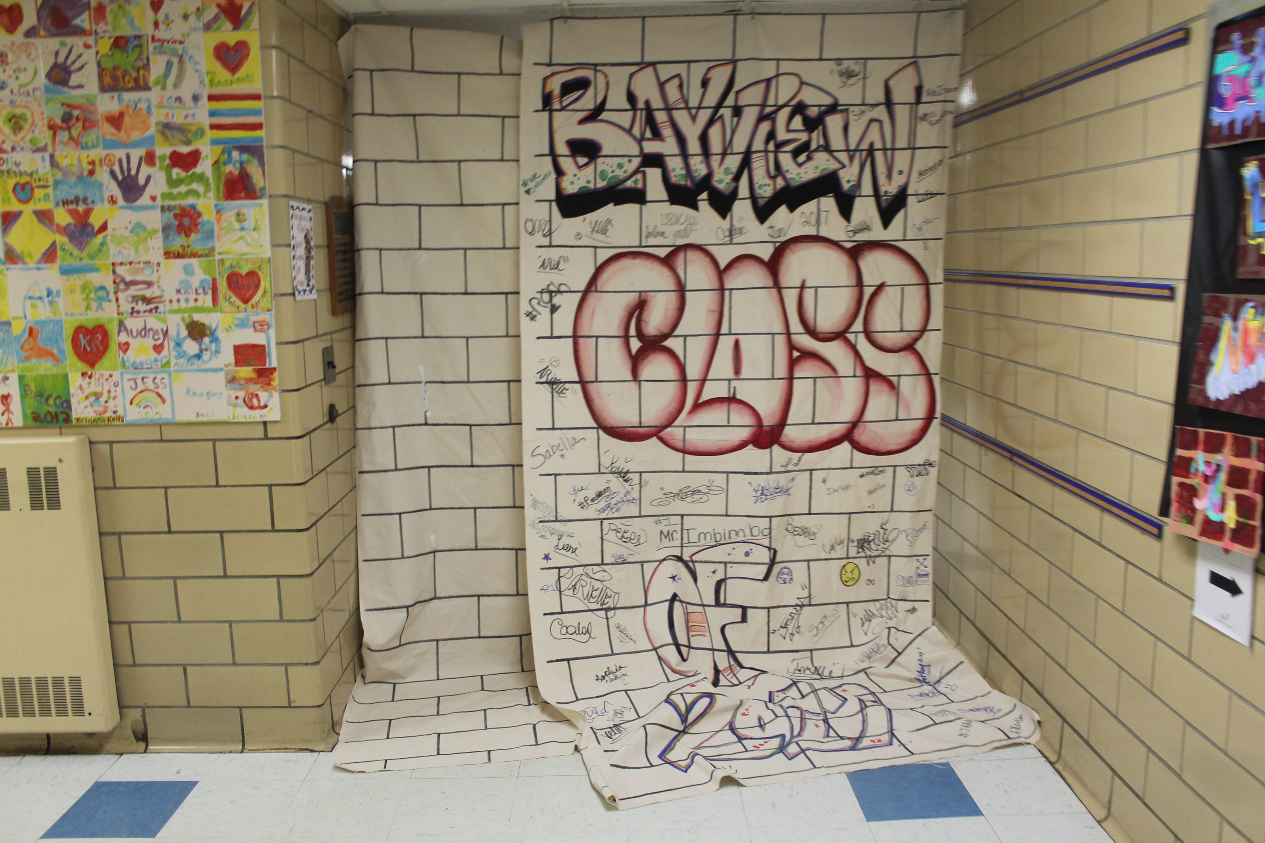 Created Graffiti Wall Egyptian Canvas From Michaels Created A Brick Wall Graffiti School Name And Year Left A Bucket Of Color Markers Available So Kids