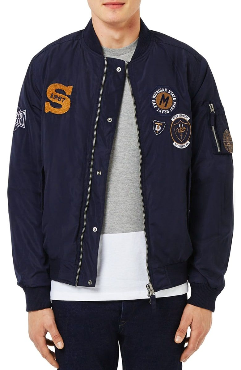 2ce743712 Free shipping and returns on Topman Badge MA1 Bomber Jacket at ...