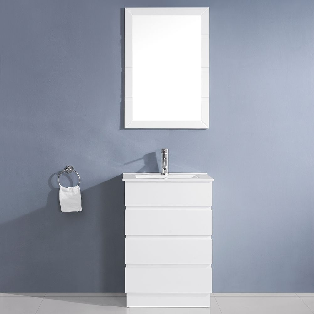 Virtu Usa Bruno 24 Inch White Single Sink Vanity Set Overstock