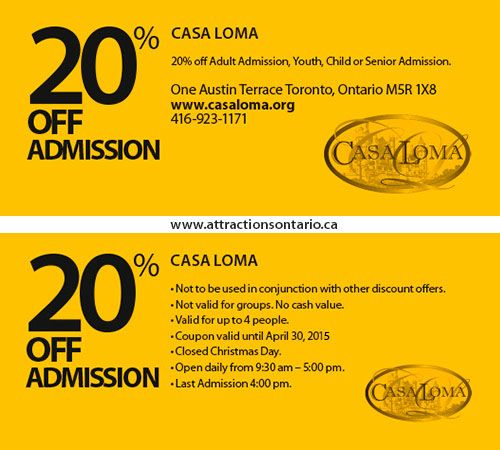 ATTRACTIONS ONTARIO - 20% Off Casa Loma. Steve Pacheco Real Estate. More coupons: bit.ly/1hupagH