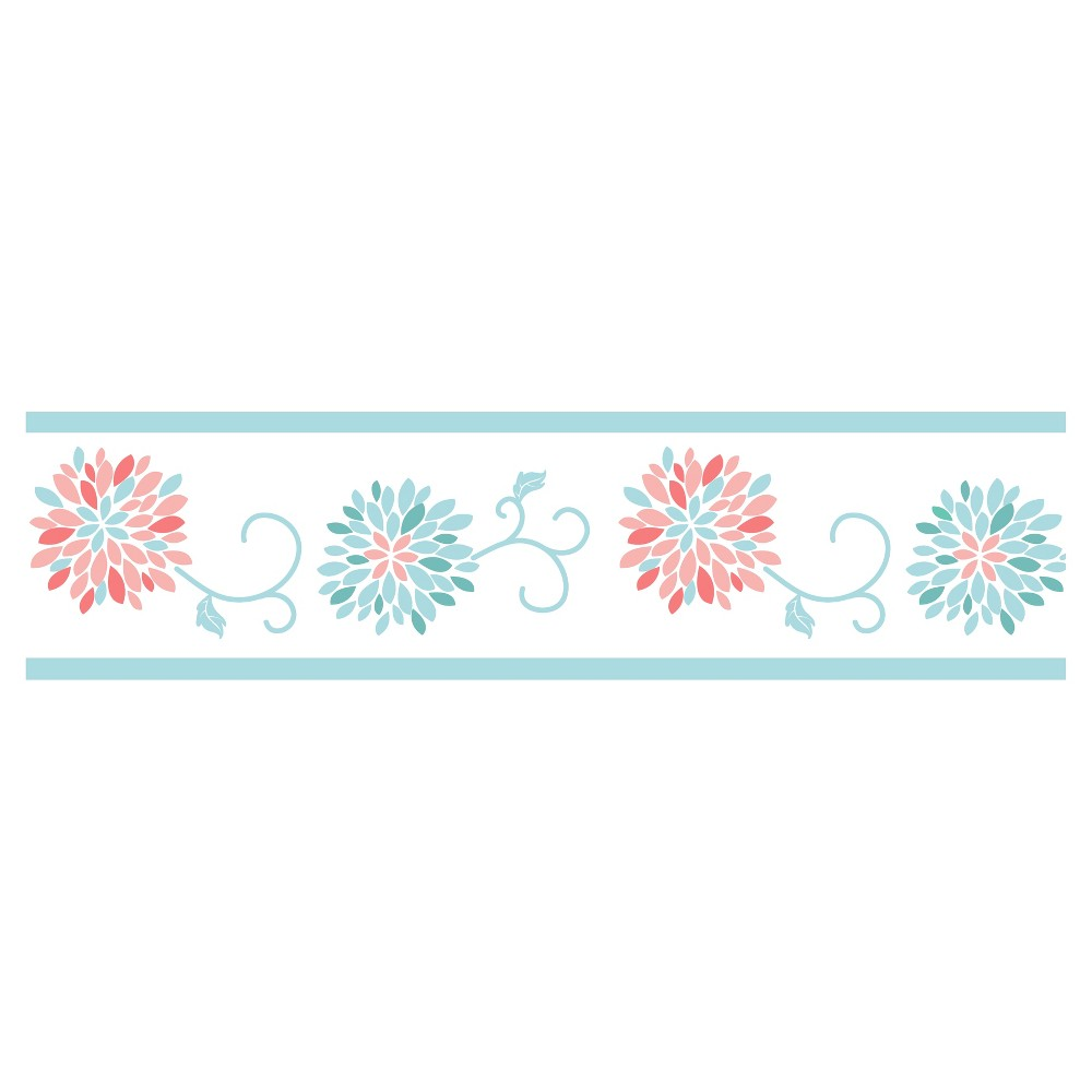 Turquoise Aqua Teal Blue and Purple Floral wallpaper