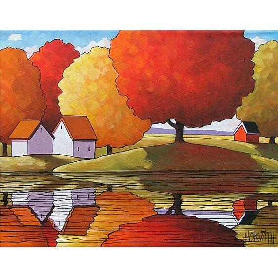 Folk Art Autumn Tree Colors Reflection, Abstract Modern Fall River ...