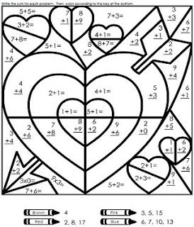 math coloring pages 11rd grade | Add ten Valentine math game from ...