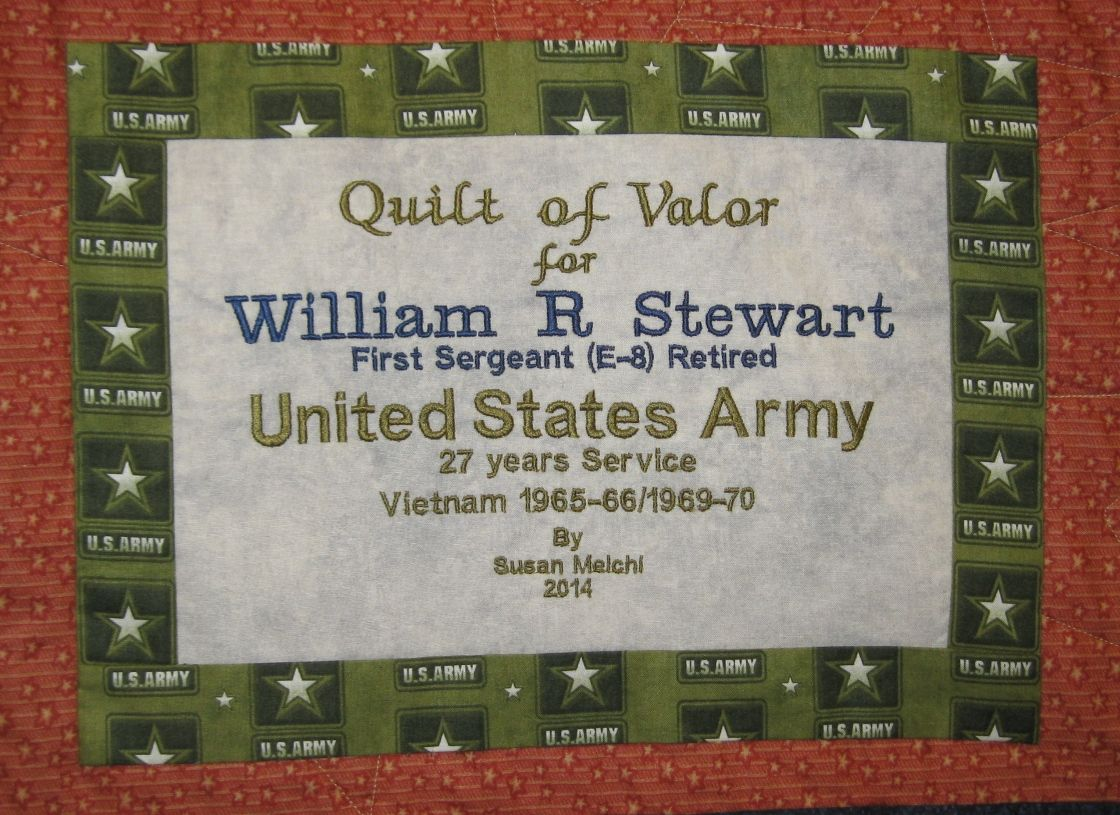 Susie\'s quilt of valor label. | Talei\'s Sewing Class | Pinterest ...