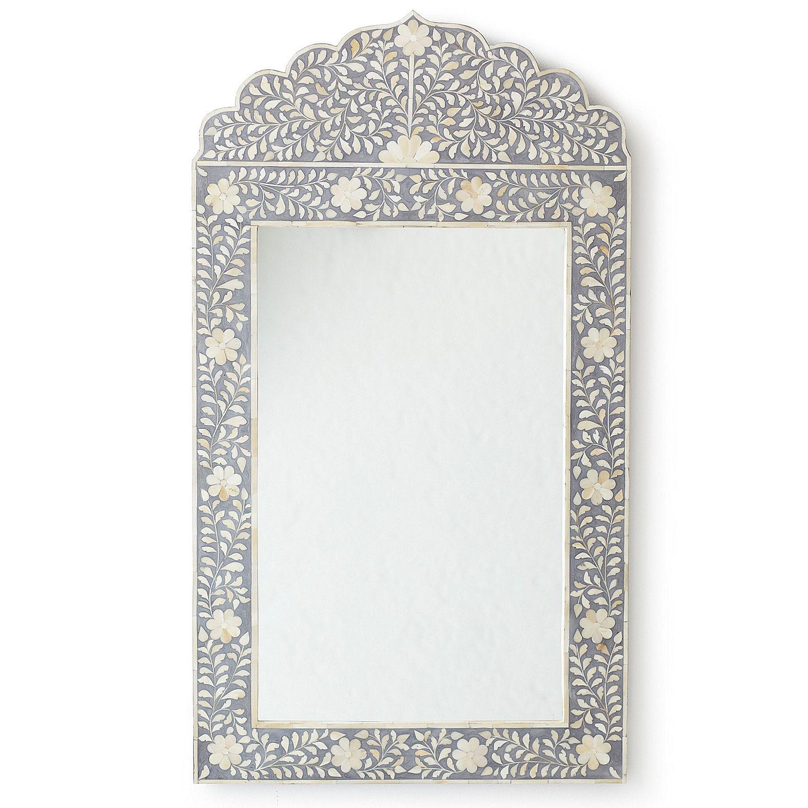 Maya Inlay Mirror Grey Serena Lily Bone Inlay Mirror Romantic Floral Decor Mirror Decor