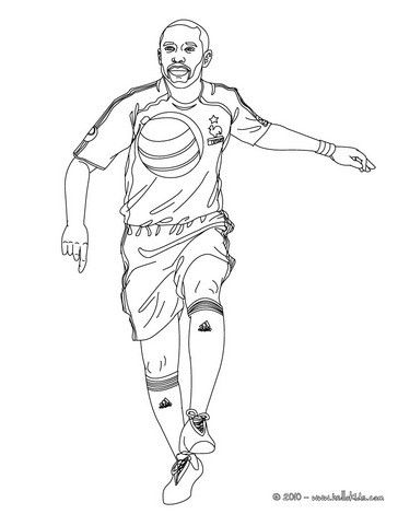 Thierry Henry playing soccer coloring page | coloring pages ...