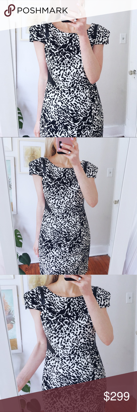 Tibi Cap Sleeve Snow Leopard Print Dress Size 4 Leopard Print Dress Most Beautiful Dresses Midi Dress With Sleeves [ 1740 x 580 Pixel ]