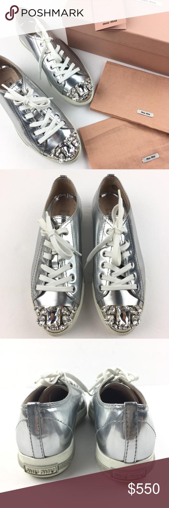 a11068c7b9b Miu Miu Silver Crystal Swarovski Leather Sneakers Authentic Miu Miu Cap Toe Swarovski  Crystal Metallic Silver Patent Leathe Sneakes.