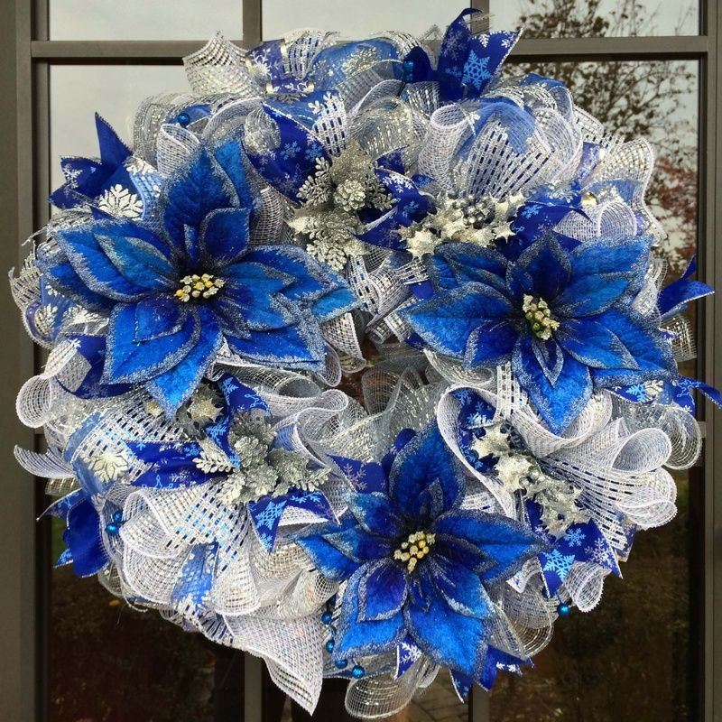 Blue And Silver Deco Mesh Wreath Pretty For Winter Not Just Christmas Christmas Mesh Wreaths Deco Wreaths Deco Mesh Wreaths