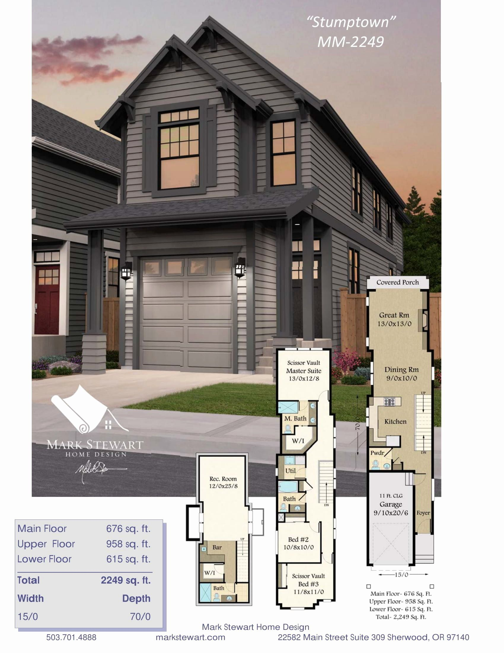 15 Foot Wide House Plans Inspirational This 15 Ft Wide Portland Approved Modern Farm House In 2020 Craftsman Bungalow House Plans Small Farmhouse Plans Farmhouse Plans