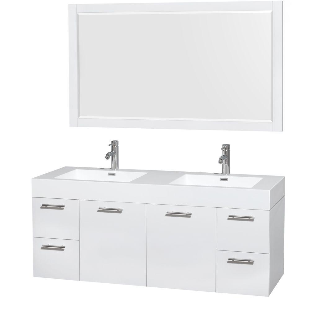 Amare 60 In Double Vanity In Glossy White With Acrylic Resin Vanity Double Vanity Bathroom Single Sink Bathroom Vanity Contemporary Bathroom Vanity