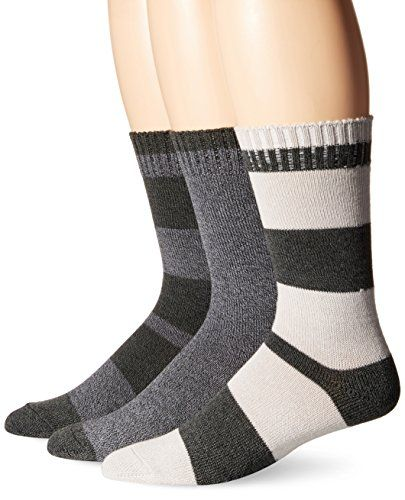 Lucky Mens Marled Rugby Stripe Casual Crew Socks Charcoal 1013612 Pack Of 3 See This Great Product Work Socks Mens Socks Socks