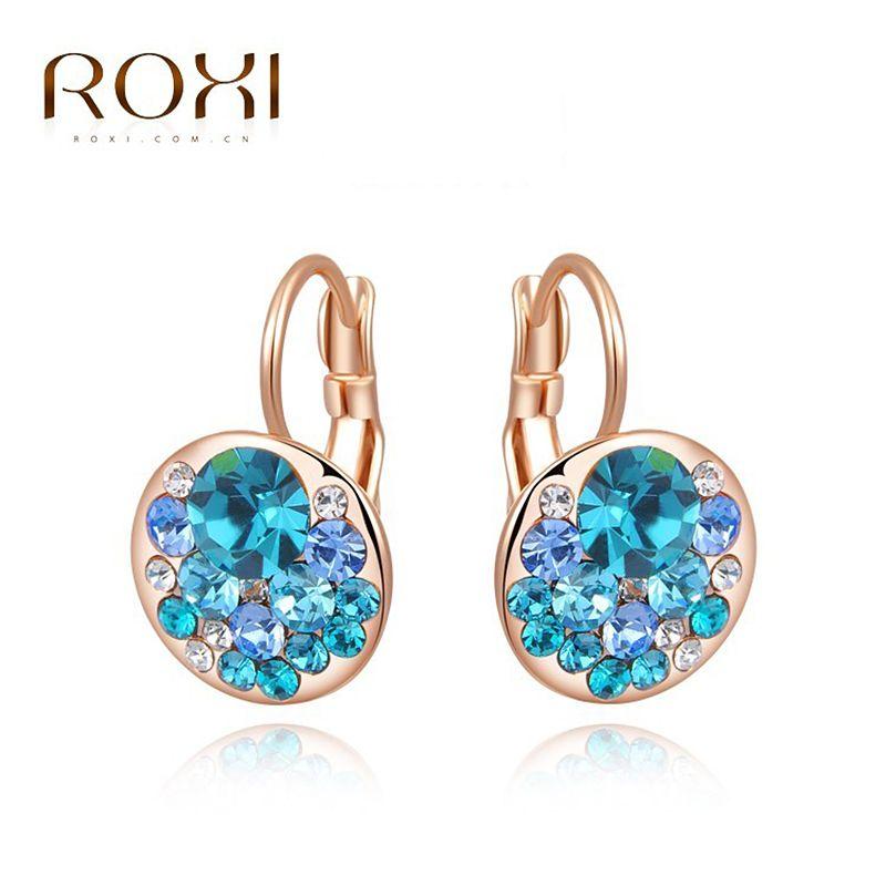 ROXI High Quality Blue Round Stone Earrings Fashion Jewelry Best