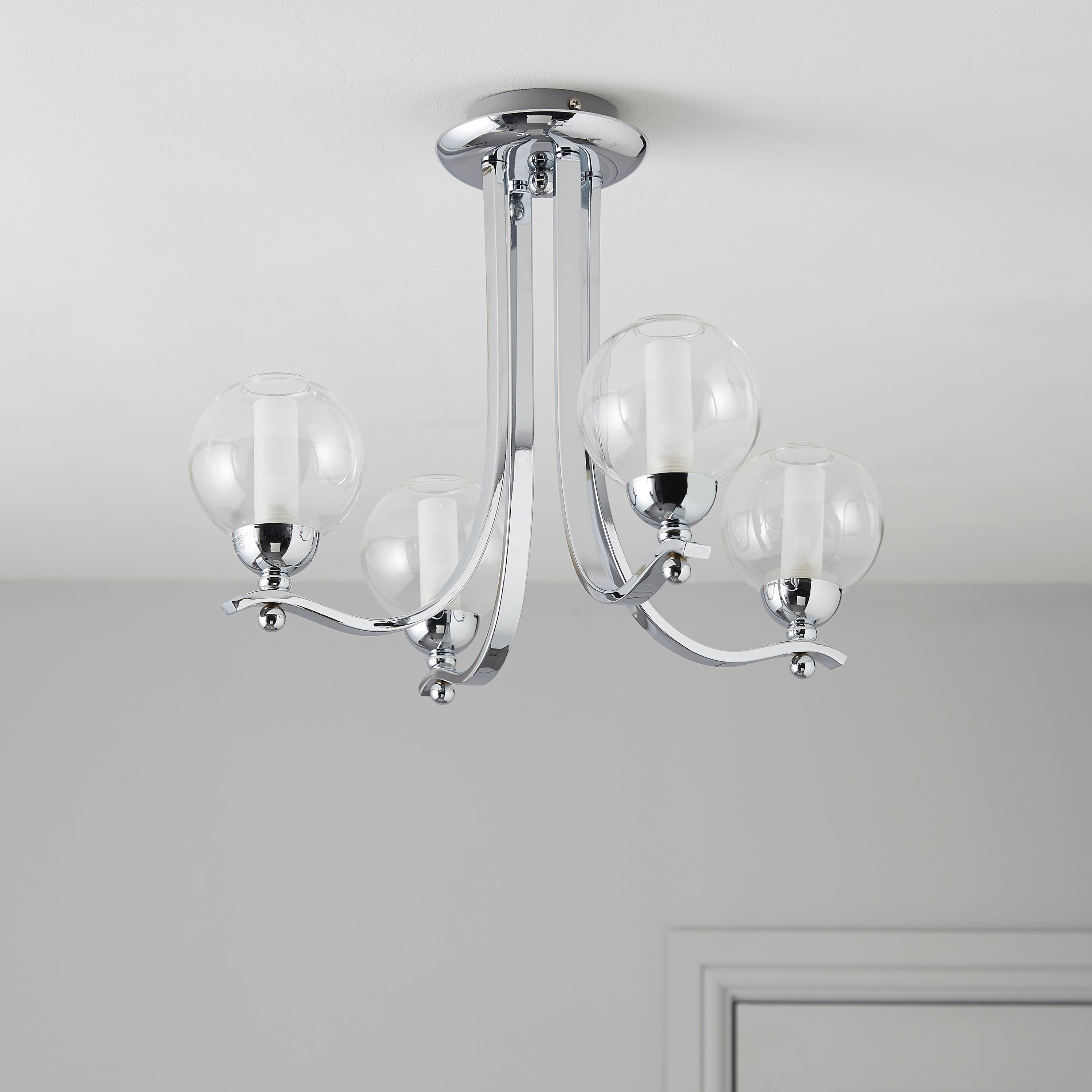 Karyn swirly chrome effect 5 lamp ceiling light mozeypictures Gallery