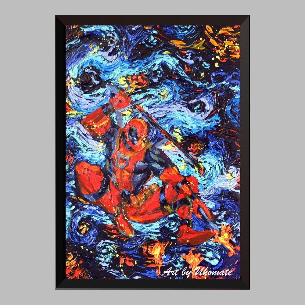 The Deadpool Starry Night Poster Canvas Art Print Nursery Wall Decor A101