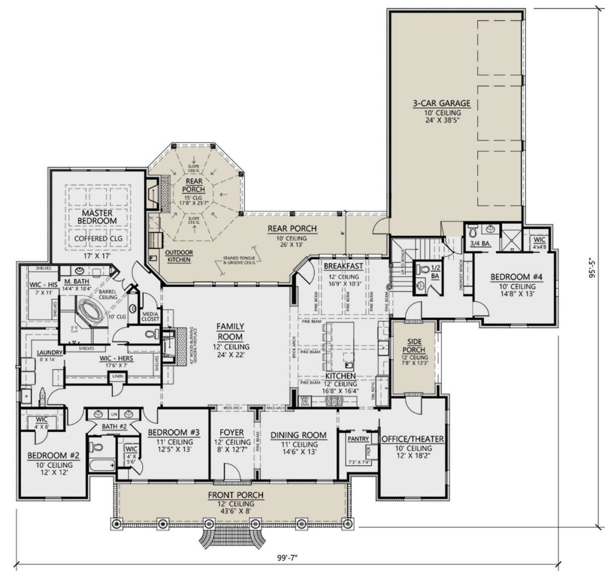 Photo of House Plan 4534-00027 – French Country Plan: 3,851 Square Feet, 4-5 Bedrooms, 3.5 Bathrooms