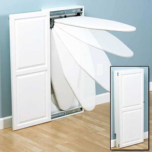Wall Mounted Ironing Board Cabinet - A Space Saving Idea For Small Laundry Rooms. DIY Pinterest