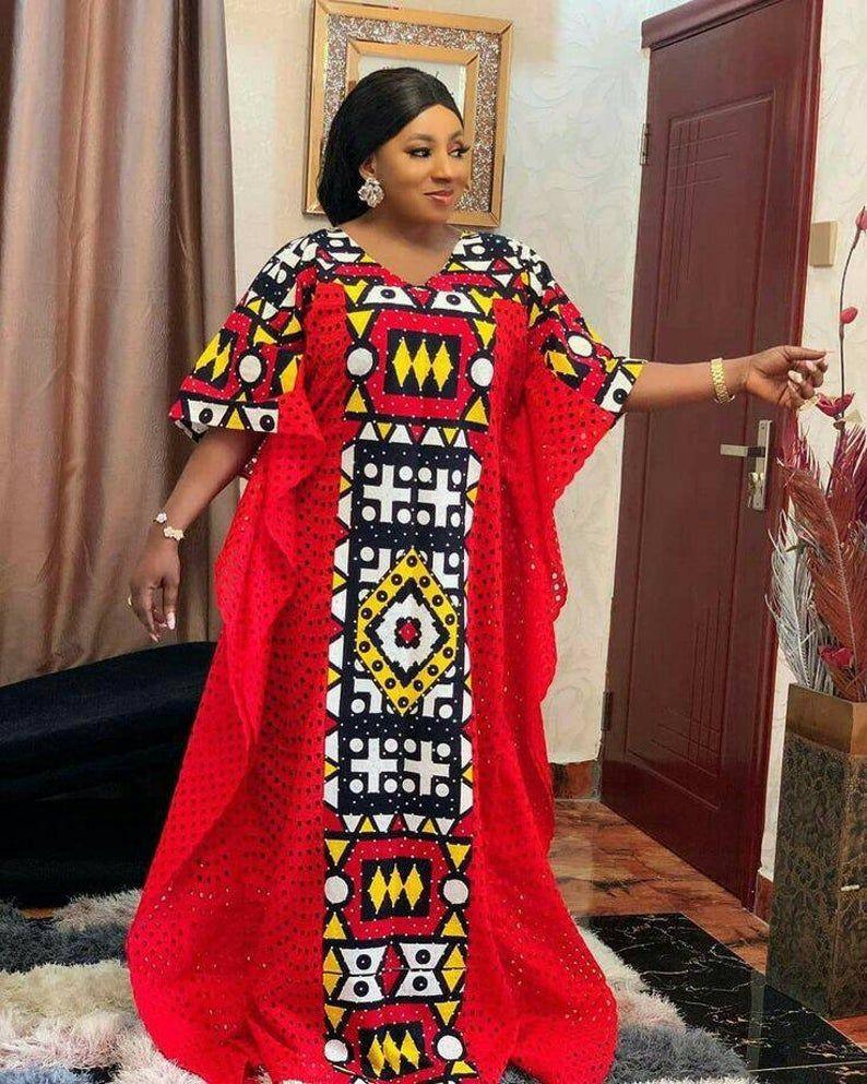 Stoned ankara boubou gown, african women clothing,