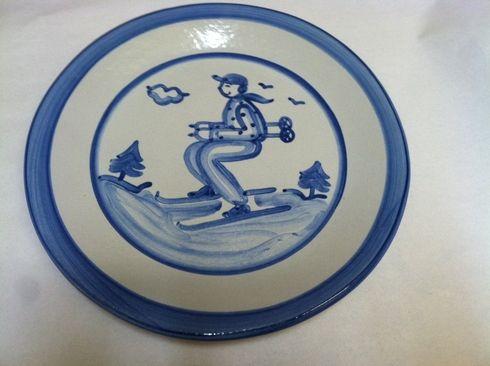 hadley stoneware skier dinnerplate