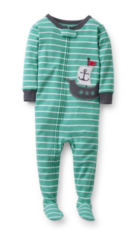 56196280f Carter s Baby Boys 1 Piece Cotton Striped Sail Boat Footie Pajama ...