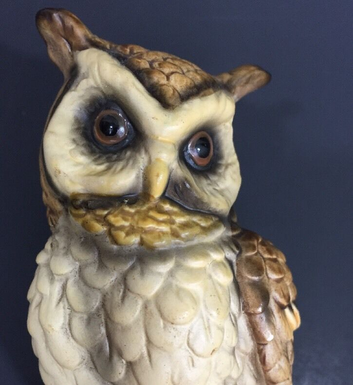 Owl figurine ceramic hollow 6 5 inches 16 5 cm mushrooms logs collectible