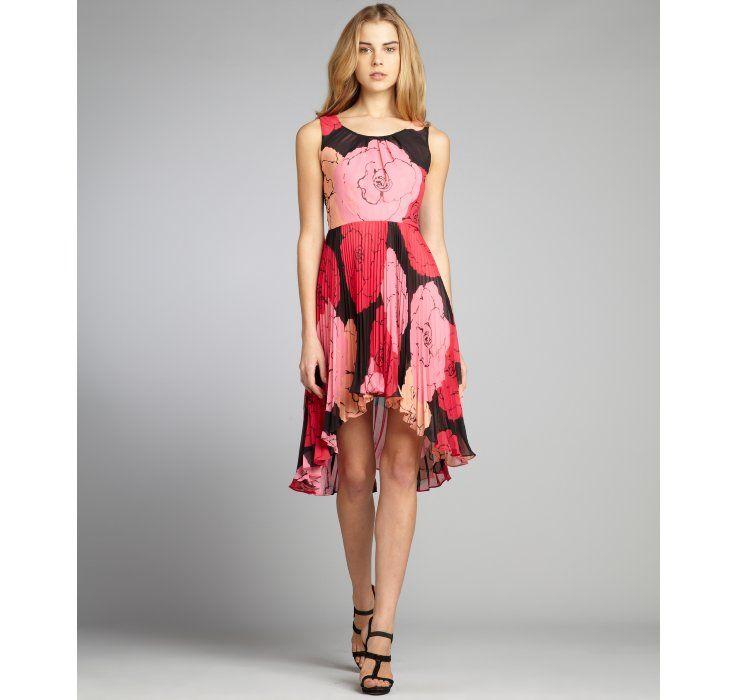 Max & Cleo black and pink rose print chiffon accordion pleated dress