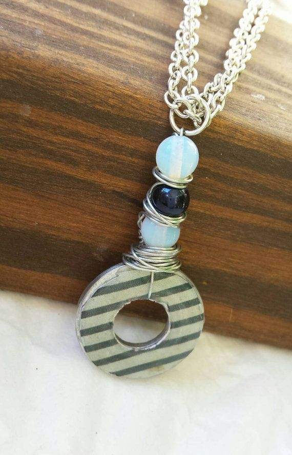 Striped washer necklace. Blue and White. by TiffanyTwists on Etsy