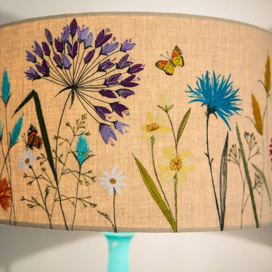 Large Meadow Flowers Lampshade Painting Lamp Shades Lamp Shades Floral Lampshade