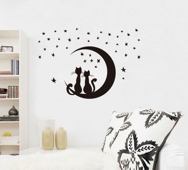 Pairs Of Love Cats Moon Stars Pvc Removable Wall Stickers,Simple Stylish  Home Sitting Room