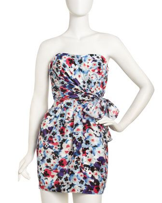 Nadia Strapless Pansy-Print Dress by Cynthia Steffe at Last Call by Neiman Marcus.