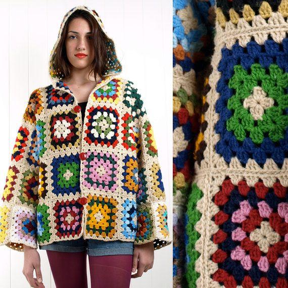 Patrón de chaqueta con capucha Crochet Granny Square S M L ...