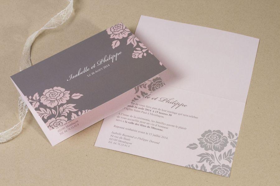 Faire-part mariage rose et taupe fleurs