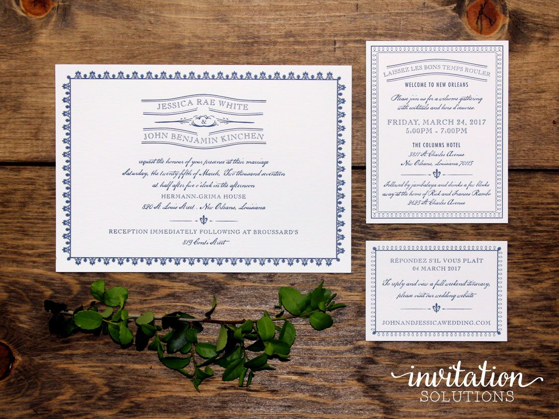 New Orleans inspired wedding invitation suite!   new orleans themed ...