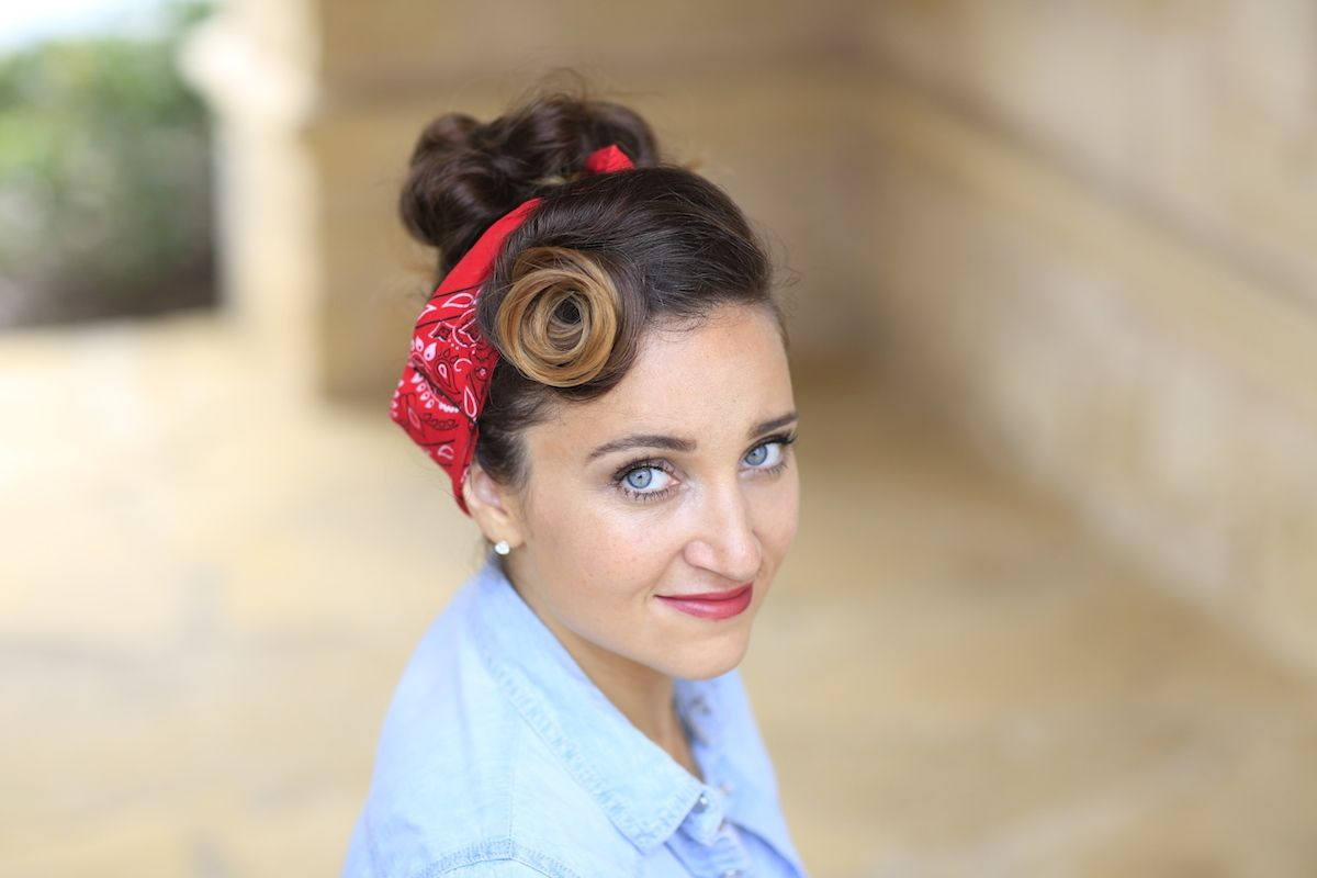 rosie the riveter   hairstyle tutorial   hair and beauty