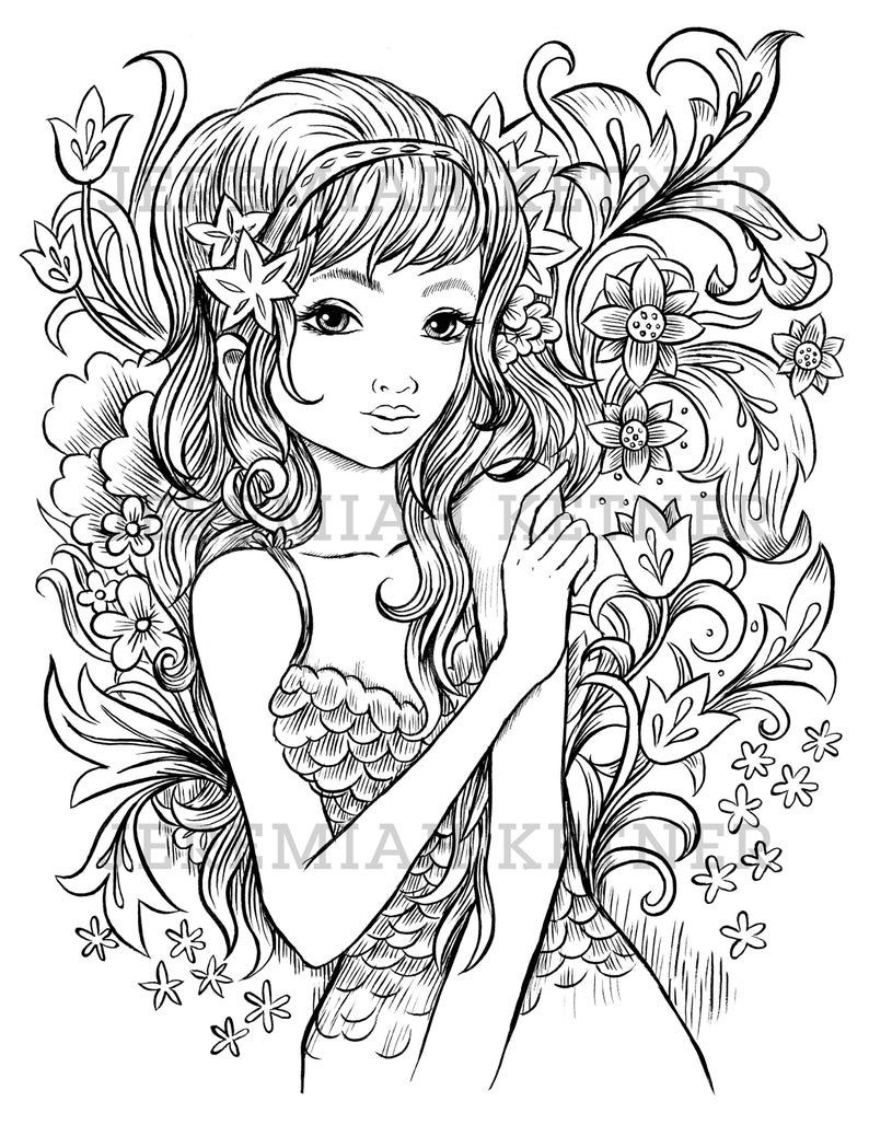 Flower Shower Coloring Page Etsy Mermaid Coloring Pages Coloring Pages Fairy Coloring Pages