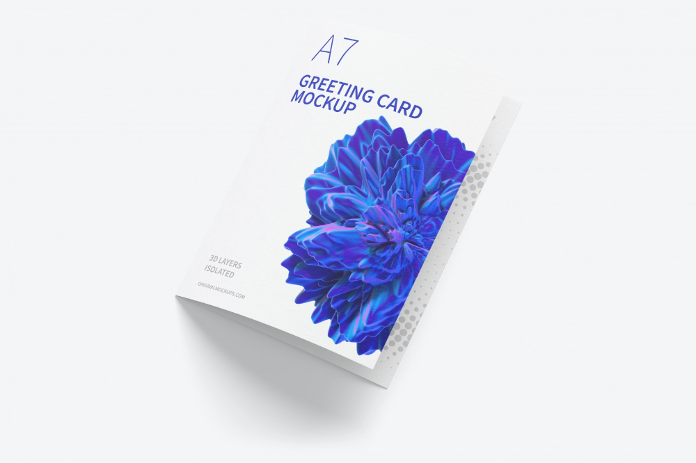 A7 Greeting Card Mockup Closed Left View Free Greeting Cards Psd Template Free Mockup Free Psd