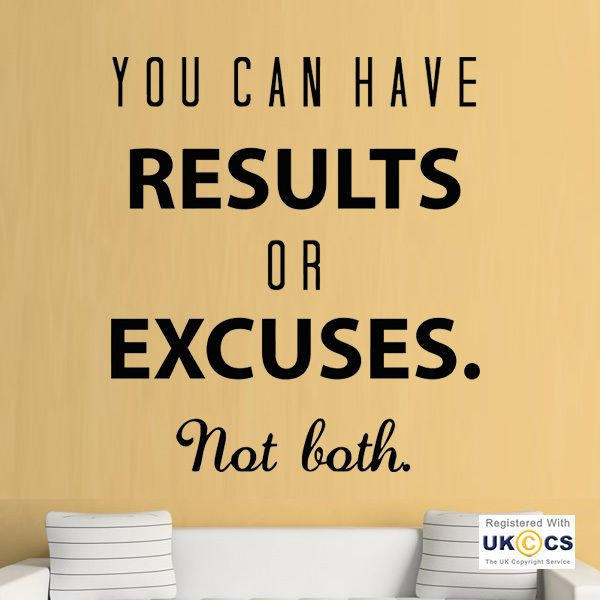 Results Excuses Gym Exercise Fitness Quote Wall Art Stickers Decals ...