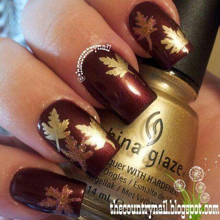 Fall Golden Leaves #red #golden - http://bellashoot.com #nailart